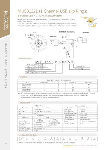 USB slip ring MUSB1221 series