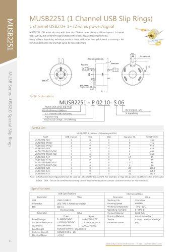 USB slip ring MUSB2251 series