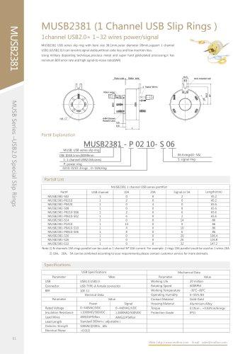 USB slip ring MUSB2381 series