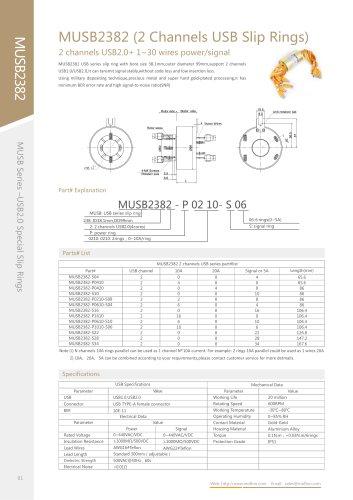 USB slip ring MUSB2382 series