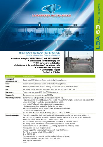 LBA 63 PG (THE NEW HIGHWAY REFERENCE Reliable - Innovative - Economic -Ecological)
