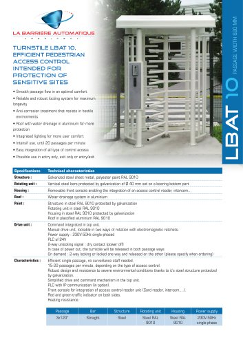 LBAT 10 (Efficient pedestrian access control intended for protection of sensitive sites)