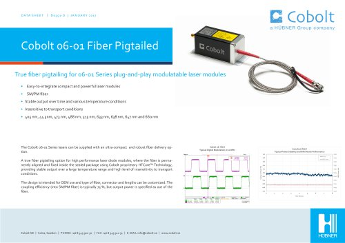 Cobolt 06-01 Series Fiber Pigtailed lasers
