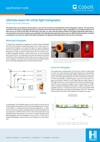 Ultimate lasers for white light holography Application note
