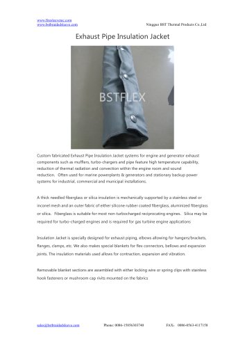 BSTFLEX heat protection Exhaust Pipe Insulation Jacket