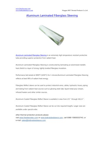 BSTFLEX heat reflective Aluminum Laminated Fiberglass Sleeving