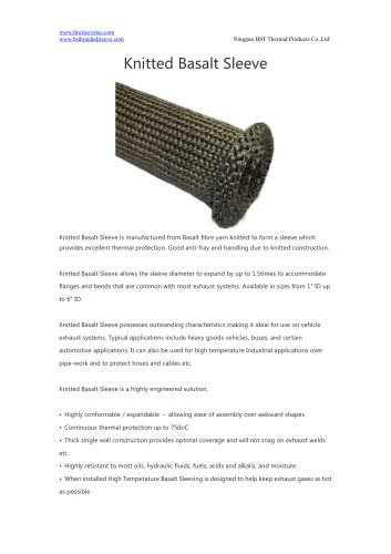 BSTFLEX heat resistant exhaust protection Knitted Basalt Sleeve