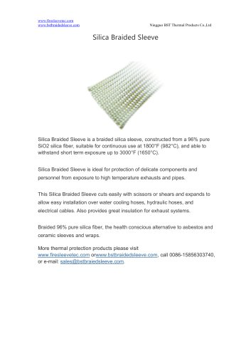 BSTFLEX high temperature resistant thermal protection Silica Braided Sleeve