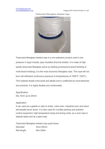 BSTFLEX high temperature Texturized fiberglass twisted rope