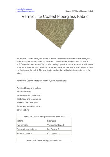 BSTFLEX Vermiculite Coated Fiberglass Fabric for high teperature resistant