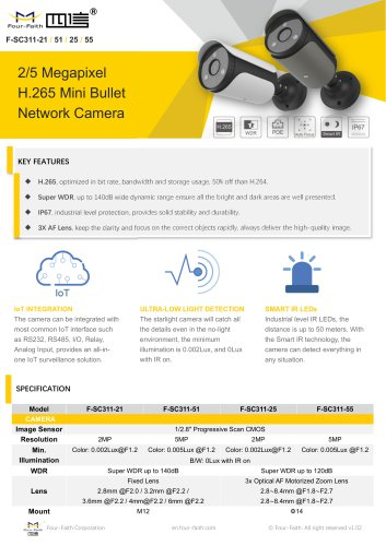 2/5 Megapixel H.265 Mini Bullet Network Camera