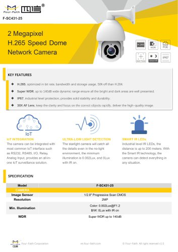 2 Megapixel H.265 Speed Dome Network Camera