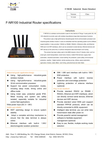 F-NR100 Industrial Router specifications
