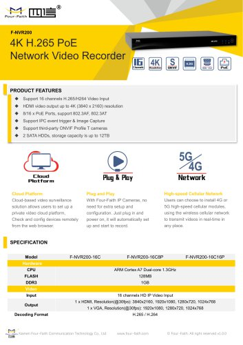 F-NVR200 PoE Network Video Recorder