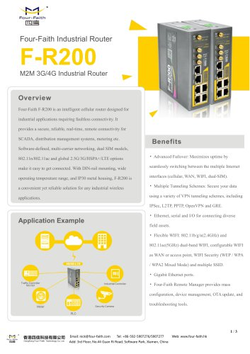 F-R200 Industrial Cellular Wireless Router TECHNICAL SPECIFICATION V1.0.0