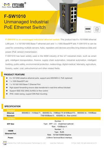 F-SW1010 Unmanaged Industrial PoE Ethernet Switch