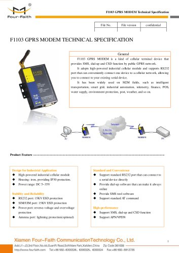 F1103 Industrial GPRS MODEM