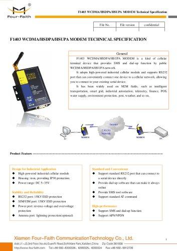 F1403 Industrial WCDMA/HSDPA/HSUPA MODEM