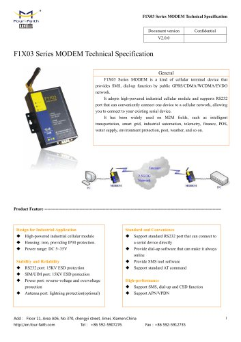 F1X03 Series MODEM Technical Specification V2.0.0