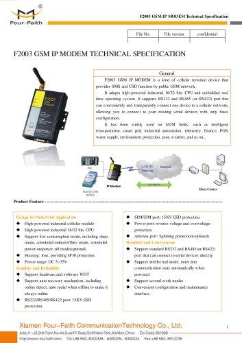 F2003 Industrial GSM IP MODEM,GSM DTU