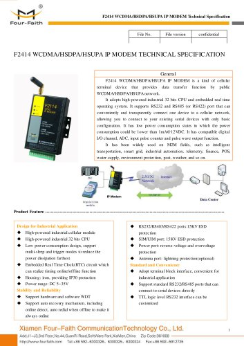F2414 Industrial WCDMA IP MODEM