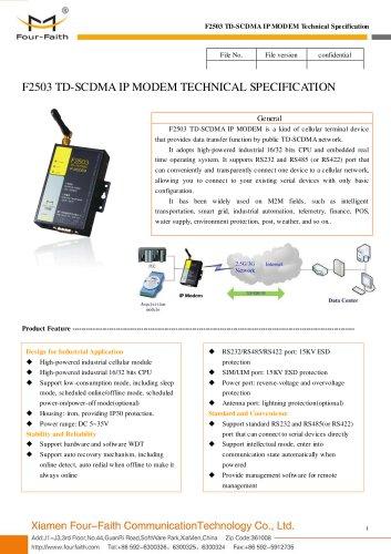F2503 Industrial TD-SCDMA IP MODEM