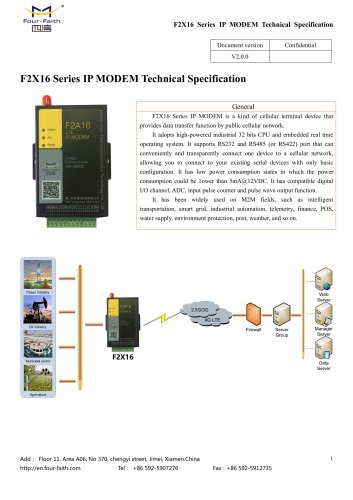 F2X16 3G 4G IP MODEM TECHNICAL SPECIFICATION