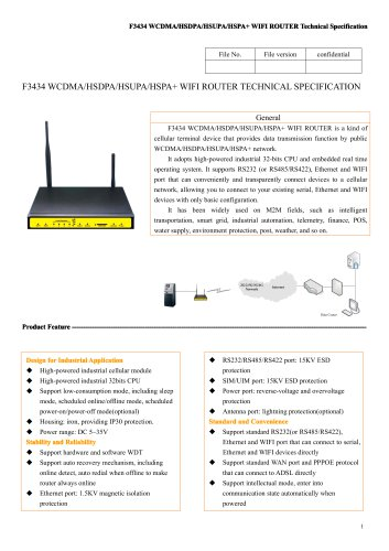 F3434 WIFI ROUTER SPECIFICATION