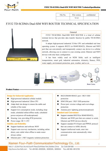 F3532 TD-SCDMA Dual-SIM WIFI ROUTER SPECIFICATION