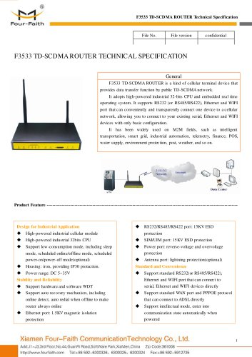 F3533 Industrial TD-SCDMA ROUTER