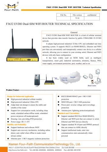 F3632 EVDO Dual-SIM WIFI ROUTER SPECIFICATION