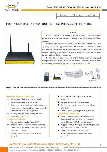 F3633 CDMA2000 1X EVDO M2M ROUTER