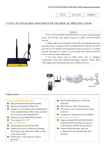 F3724 Industrial wifi LTE/WCDMA Router,4G router