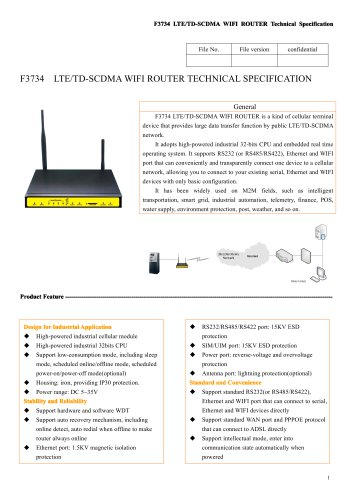 F3734 Industrial LTE&TD-SCDMA WIFI Router