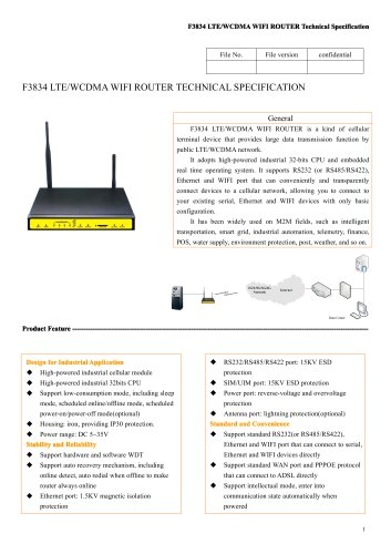 F3834 Industrial LTE&WCDMA WIFI Router