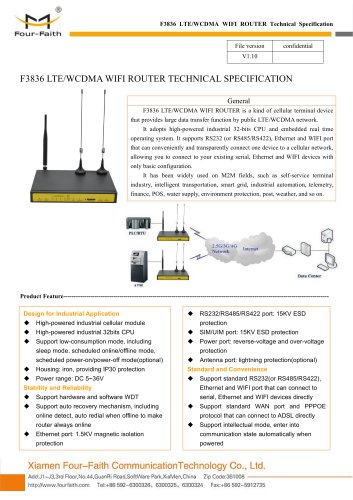F3836 LTE&WCDMA WIFI ROUTER SPECIFICATION