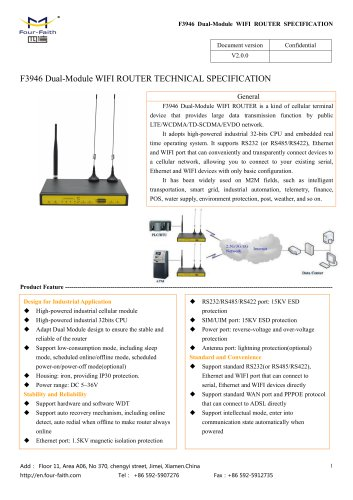 F3946 Dual-Module WIFI ROUTER SPECIFICATION V2.0.0