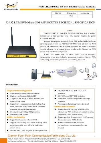 F3A32 LTE&EVDO Dual-SIM WIFI ROUTER SPECIFICATION