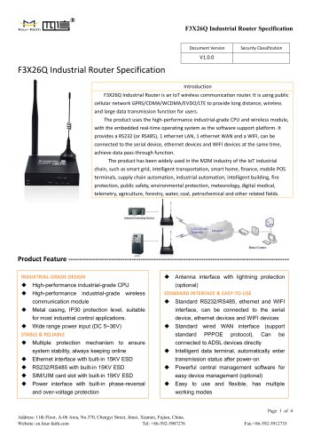 F3X26Q Industrial Router Specification