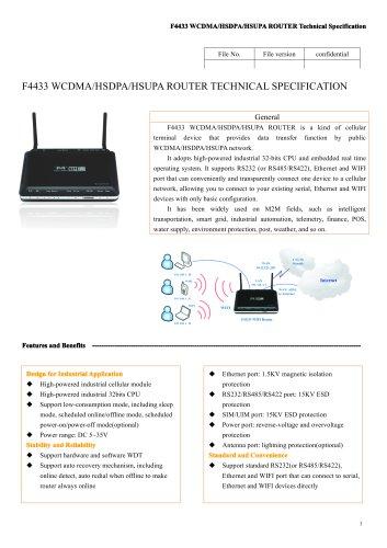 F4433 Industrial WCDMA/HSDPA/HSUPA ROUTER