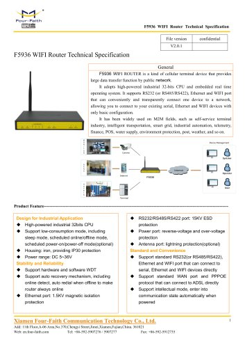 F5936 WIFI Router Technical Specification V2.0.1