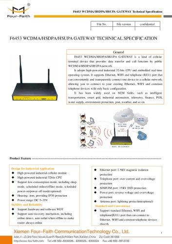 F6453 Industrial WCDMA&HSDPA&HSUPA GATEWAY