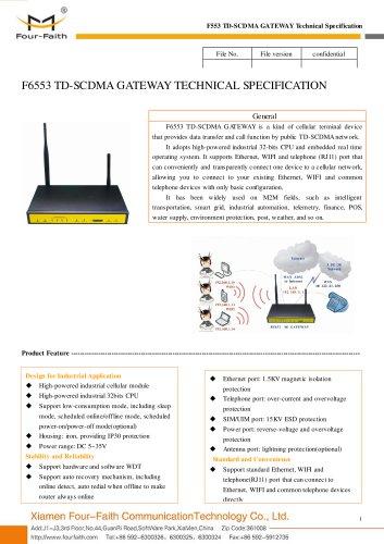 F6553 Industrial 3G TD-SCDMA GATEWAY