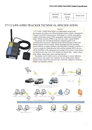 F7113 GPS+GPRS TRACKER M TECHNICAL SPECIFICATION