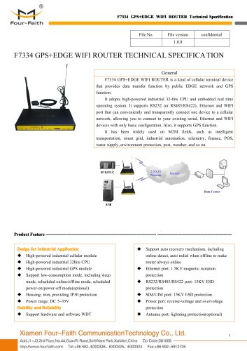 F7334 M2M Industrial GPS+EDGE WIFI Router