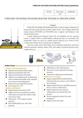 F7B30 GPS+TD-SCDMA&TD-SCDMA M2M industrial ROUTER