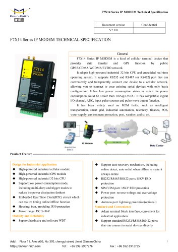 F7X14 Series IP MODEM Technical Specification