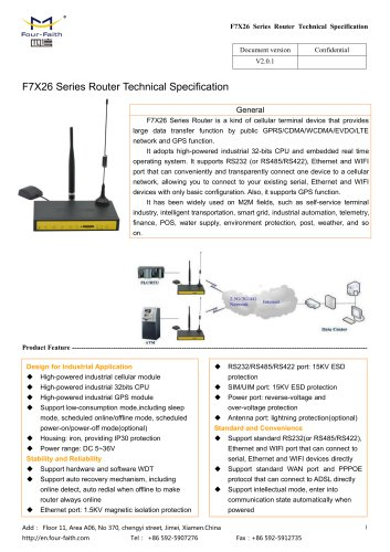 F7X26 Series Router Technical Specification V2.0.0