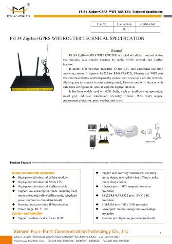 F8134 ZigBee+GPRS WIFI ROUTER SPECIFICATION