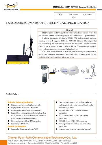 F8225 ZigBee+CDMA ROUTER SPECIFICATION